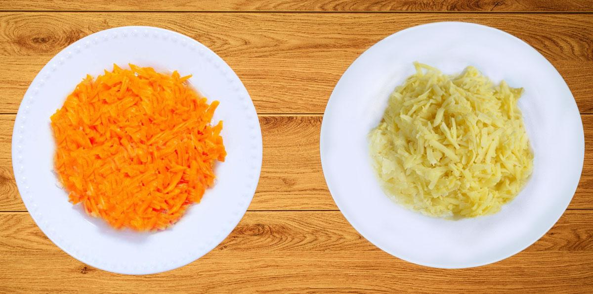 Картофель и морковь для Мимоза